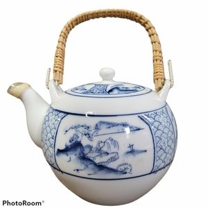 Japanese Teapot in white with blue pattern